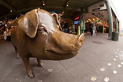 Washington, Seattle, Pike Place Market, Rachel the Pig sculpture