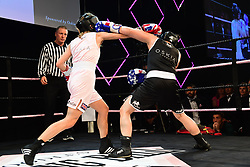Daisy O'Bryan (black) and Flora Beverley (pink) boxing at the Boodles Boxing Ball, in association with Argentex and YouTube in Support of Hope and Homes for Children at Old Billingsgate London, United Kingdom - 7 Jun 2019 Photo Dominic O'Neil