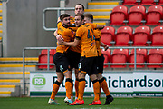 Goal Hull City Celebrate as Tom Eaves of Hull City scores a goal to take the lead 0-1 during the The FA Cup match between Rotherham United and Hull City at the AESSEAL New York Stadium, Rotherham, England on 4 January 2020.