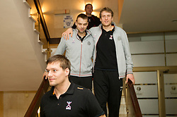 Marko Bezjak, Matjaz Brumen and David Miklavcic of Slovenia Men Handball team during 3rd day of 10th EHF European Handball Championship Serbia 2012, on January 17, 2012 in Hotel Srbija, Vrsac, Serbia.  (Photo By Vid Ponikvar / Sportida.com)