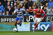 Reading's Jordan Obita attacking down the left wing during the Sky Bet Championship match between Reading and Charlton Athletic at the Madejski Stadium, Reading, England on 17 October 2015. Photo by Mark Davies.