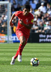 Peru's Edison Flores against New Zealand in the Soccer World Cup qualifying match, Westpac Stadium, Wellington, New Zealand, Saturday, November 11, 2017. Credit:SNPA / Ross Setford  **NO ARCHIVING**