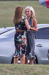 Cowarth Park Polo.<br /> <br /> Picture shows:  Natalie Pinkham (L) and Kathrine Jenkins visit Prince Harry in his tent after he plays polo this afternoon at Cowarth Park Audi Polo.Polo at Coworth Park<br /> Coworth Polo Club, Ascot, United Kingdom<br /> Sunday, 4th August 2013<br /> Picture by Rupert Hartley / i-Images