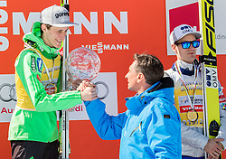 Overall World Cup winner Peter Prevc (SLO) with a globe and Borut Pahor, president of Slovenia during trophy ceremony after the Ski Flying Hill Individual Competition at Day 4 of FIS Ski Jumping World Cup Final 2016, on March 20, 2016 in Planica, Slovenia. Photo by Vid Ponikvar / Sportida