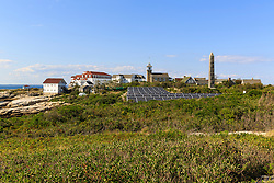 Solar panels and Gosport Village on Star Island in the Isles of Shoals. New Hampshire.