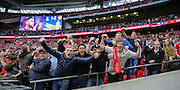 Manchester United fans celebrate winning the FA Cup during the The FA Cup Final between Crystal Palace and Manchester United at Wembley Stadium, London, England on 21 May 2016. Photo by Phil Duncan.