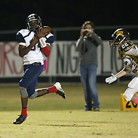 Baldwyn wide receiver Marquavious Cunningham pulls in the pass from quarterback John Swinney to pu the Bearcats up 7-0 with 8:41 left in the second quarter against East Union Thursday night.