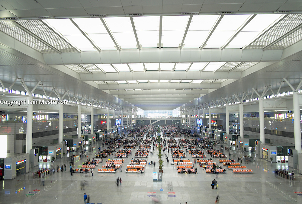 Interior of new Hongqiao railway station in Shanghai China