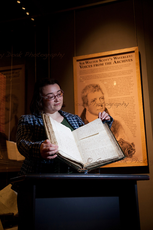 The original manuscript of Sir Walter Scott's 'Waverley' - fiction's first global bestseller - goes on display today at the National Library of Scotland in Edinburgh. Helen Vincent, Head of Rare Books and Music has a close look at the 200 year-old manuscript. 10th September 2014. © Gary Doak Photography