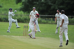 RUSHTON WICKET KEEPER SAM MALTON CATCHES TOM HAFIL BATTING OLD NORTHAMPTONIANS, RUSHTON CRICKET CLUB v OLD NORTHAMPTONIANS CC, Station Road Rushton Saturday 25th June 2016