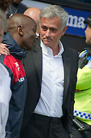 Football - 2017 / 2018 Premier League - Swansea City vs. Manchester United<br /> <br /> Manchester Utd manager Jose Mourinho with his former assistant coach at Chelsea, coaching now at Swansea —<br /> , at Liberty Stadium.<br /> <br /> COLORSPORT/WINSTON BYNORTH
