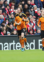 Football - 2016 / 2017 FA Cup - Fourth Round: Liverpool vs. Wolverhampton Wanderers<br /> <br /> Richard Stearman of Wolverhampton Wanderers  celebrates during the match at Anfield.<br /> <br /> COLORSPORT/LYNNE CAMERON