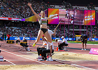 Athletics - 2017 IAAF London World Athletics Championships - Day Three, Morning Session<br /> <br /> Women's Hepathlon - Long Jump<br /> <br /> Carolin Schafer (Germany) launches herself into the Long Jump pit at London Stadium<br /> <br /> COLORSPORT/DANIEL BEARHAM