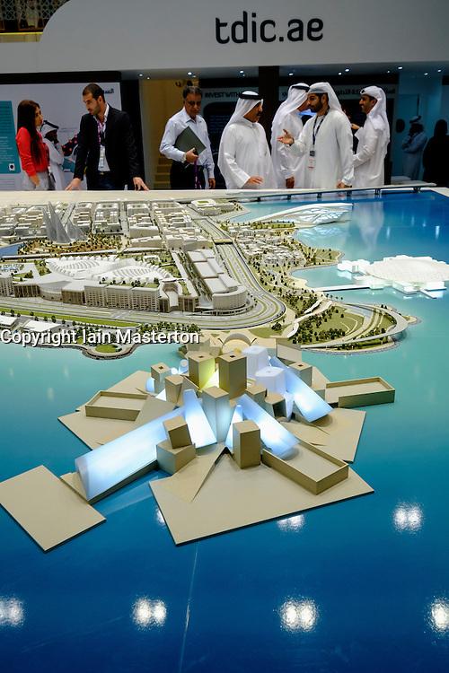 Model of new Guggenheim Museum to be built on Saadiyat Island in Abu Dhabi United Arab Emirates