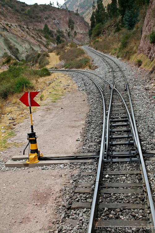 South America, Peru. A switchback of the train track from Cusco to Machu Picchu.