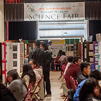 Projects await judging during the 2018 Navajo Nation Science Fair at Red Rock Park Thursday.
