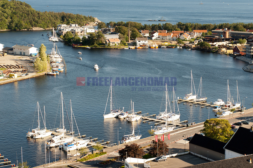 Aerial shot of Mandal Harbor, Norway