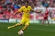 Antony Kay (Milton Keynes Dons) during the Sky Bet Championship match between Middlesbrough and Milton Keynes Dons at the Riverside Stadium, Middlesbrough, England on 12 September 2015. Photo by George Ledger.