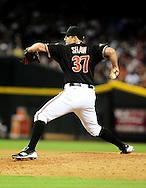 Aug. 6 2011; Phoenix, AZ, USA; Arizona Diamondbacks pitcher Bryan Shaw (37) delivers a pitch against the Los Angeles Dodgers at Chase Field. The Dodgers defeated the Diamondbacks 5-3. Mandatory Credit: Jennifer Stewart-US PRESSWIRE.