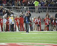 St. Louis Cardinals third baseman David Freese, the World Series MVP, tips his cap to the crowd at Vaught-Hemingway Stadium in Oxford, Miss. on Saturday, November 19, 2011..
