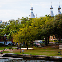 TAMPA, FL  -- Rowers carry a boat back into the boathouse near the Tampa Bay Rowing Club on the University of Tampa campus near the Cass Street Bridge in Tampa, Florida. (Chip Litherland for Bay Magazine)
