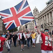 Thousands far-rights Protest For Tommy Robinson to demand #FreeTommy at Whitehall, June 9 2018, London, UK.
