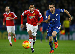 Anthony Martial of Manchester United and Christian Fuchs of Leicester City in action  - Mandatory byline: Jack Phillips/JMP - 07966386802 - 28/11/2015 - SPORT - FOOTBALL - Leicester - King Power Stadium - Leicester City v Manchester United - Barclays Premier League