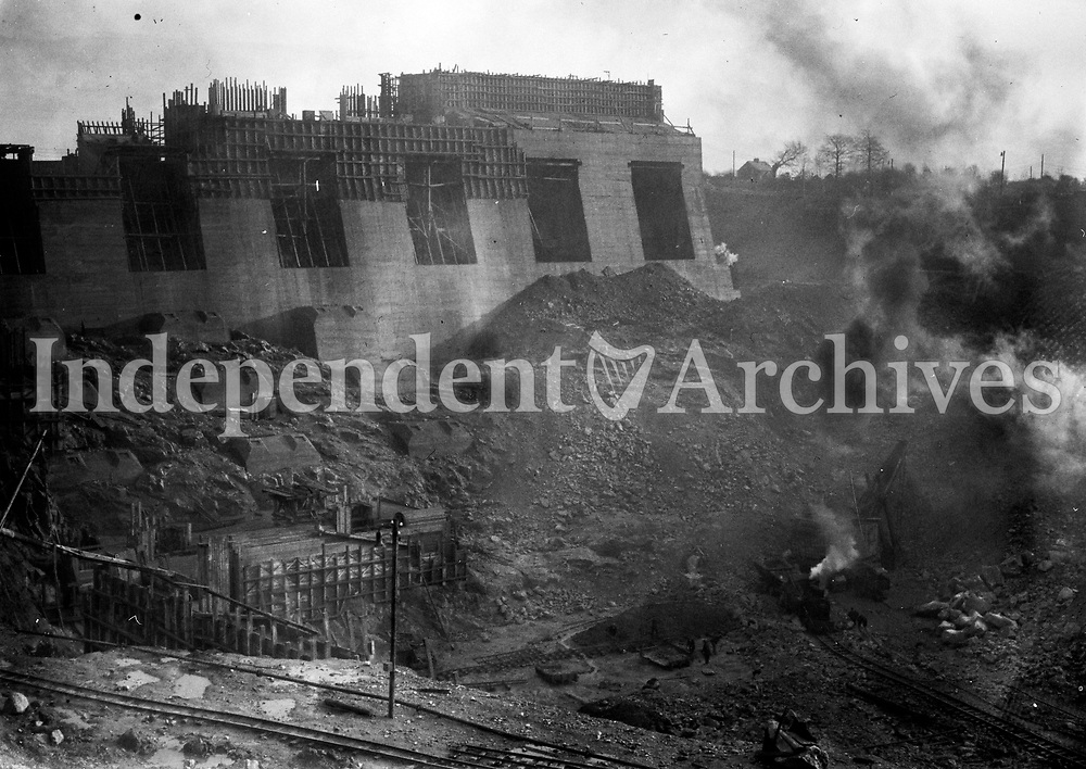 Ardnacrusha power plant in 1929. Located in Ardnacrushna, County Clare, it is Ireland's largest river hydroelectric scheme and is operated on a purpose built headrace connected to the River Shannon. The plant includes fish ladders so that returning fish, such as salmon, can climb the river safely past the power station.<br />