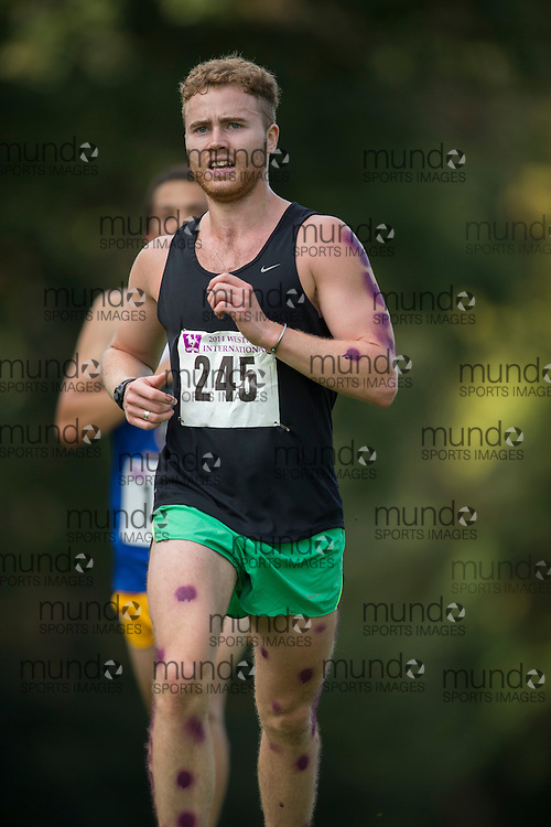 Pat Galler of the Unattached runs at the 2014 Western International Cross country meet in London Ontario, Saturday,  September 20, 2014.<br /> Mundo Sport Images/ Geoff Robins