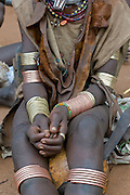 Close up from bracelets on a woman of the Hamer tribe, Omovalley, Ethiopia,Africa