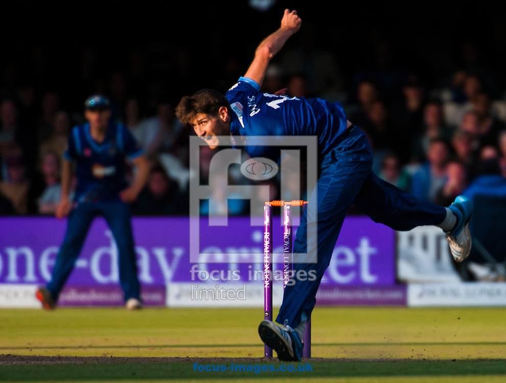 David Payne of Gloucestershire delivers the final ball to win the Royal London One Day Cup Final match at Lord's, London<br /> Picture by Jack Megaw/Focus Images Ltd +44 7481 764811<br /> 19/09/2015