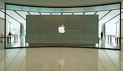 Interior of the new Apple Store in the Dubai Mall in Dubai, United Arab Emirates.