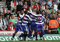 Photo: Lee Earle.<br /> Southampton v Queens Park Rangers. Coca Cola Championship. 30/09/2006. QPR's Ray Jones is mobbed after scoring their winning goal.