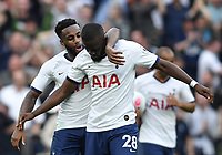 Football - 2019 / 2020 Premier League - Tottenham Hotspur vs. Aston Villa<br /> <br /> Tottenham Hotspur's Tanguy Ndombele (28) celebrates scoring his side's equalising goal with Danny Rose to make the score 1-1, at The Tottenham Hotspur Stadium.<br /> <br /> COLORSPORT/ASHLEY WESTERN