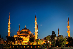 Sultan Ahmed Mosque (The Blue Mosque) at sunset
