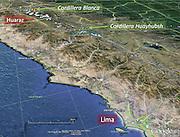 Peru map covering Lima, Cordillera Blanca, Cordillera Huayuash, South America