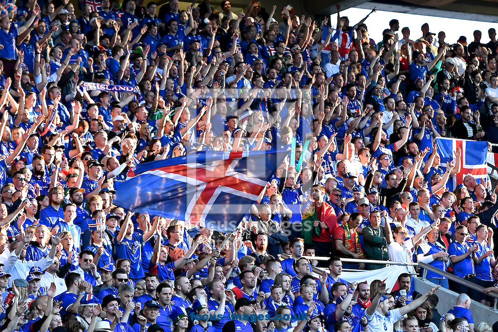 General view of the stadium showing Iceland fans during the UEFA Euro 2016 match at Stade Geoffroy-Guichard, Saint-&Eacute;tienne, France<br /> Picture by Kristian Kane/Focus Images Ltd 07814482222<br /> 14/06/2016