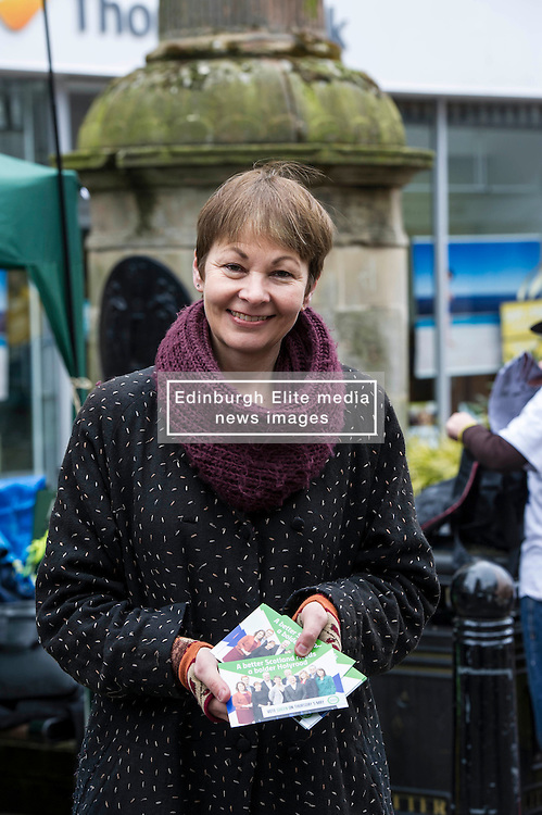 Pictured: Caroline Lucas<br /> <br /> As part of her visit to Scotland to support Greens candidates in the Scottish election, Green MP Caroline Lucas joined Scottish Greens colleagues Maggie Chapman, Greens co-convener, Mark Ruskell, candidate for Mid Scotland and Fife, Kirsten Robb, candidate for Central Scotland and John Wilson, candidate for Central Scotland, to meet anti-fracking campaigners in Falkirk <br /> <br /> Ger Harley | EEm 29 April 2016