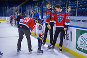 KELOWNA, CANADA - FEBRUARY 18:  Cal Foote #25 of the Kelowna Rockets, Braydyn Chizen #22 of the Kelowna Rockets, Nolan Foote #29 of the Kelowna Rockets at the BCAA Family Skate with the Kelowna Rockets on February 18, 2018 at Prospera Place in Kelowna, British Columbia, Canada.  (Photo By Cindy Rogers/Nyasa Photography,  *** Local Caption ***