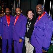 Temptations members Terry Weeks, Ron Tyson, and Otis Williams (L to R) meet with a MH board member backstage before their show at The Music Hall in Portsmouth, NH