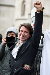 February 5, 2018 - London, London, UK -  Alleged computer hacker Lauri Love leaves the High Court after successfully challenged a ruling that he can be extradited to the US. (Credit Image: © Tom Nicholson/London News Pictures via ZUMA Wire)
