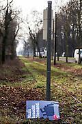 Magdeburg | 18 Jan 2014<br /> <br /> ACHTUNG BESONDERE HONORARKONDITIONEN!<br /> <br /> Am Samstag (19.01.2014) marschierten etwa 1000 Neonazis bei einem &quot;Gedenkmarsch&quot; durch Magdeburg, um der Bombardierungen der Stadt im 2. Weltkrieg zu &quot;gedenken&quot;.<br /> Hier: Plakat mit der Aufschrift &quot;Nazis braucht niemand&quot; an der Haltestelle Magdeburg-Herrenkrug.<br /> <br /> &copy;peter-juelich.com<br /> <br /> [No Model Release | No Property Release]