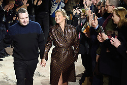 Desginer Kim Jones and Kate Moss walk the runway at the Louis Vuitton Homme show during Paris Men's Fashion Week Fall/Winter 2018-2019 on January 18, 2018 in Paris, France. Photo by Aurore Marechal/ABACAPRESS.COM    622177_028 Paris France