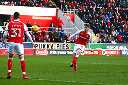 Matt Palmer of Rotherham United shoots at goal - Mandatory by-line: Ryan Crockett/JMP - 24/02/2018 - FOOTBALL - Aesseal New York Stadium - Rotherham, England - Rotherham United v Doncaster Rovers - Sky Bet League One
