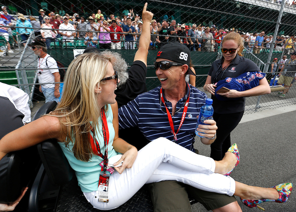 Alexander Rossi supporters react following his win of the 100th running of the Indianapolis 500 May 29, 2016.