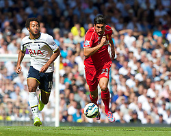 LONDON, ENGLAND - Sunday, August 31, 2014: Liverpool's Emre Can in action against Tottenham Hotspur during the Premier League match at White Hart Lane. (Pic by David Rawcliffe/Propaganda)