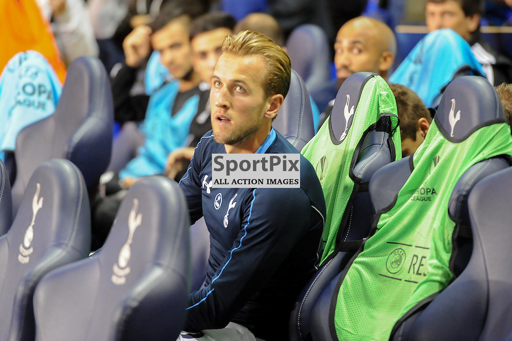 Tottenhams Harry Kane takes his seat on the bench before the Tottenham v Qarabag match in the Europa League group stage