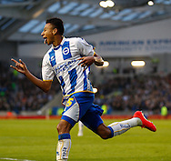 Jesse Lingard of Brighton and Hove Albion celebrates scoring the opening goal during the Sky Bet Championship play off semi final first leg at the American Express Community Stadium, Brighton and Hove<br /> Picture by David Horn/Focus Images Ltd +44 7545 970036<br /> 08/05/2014