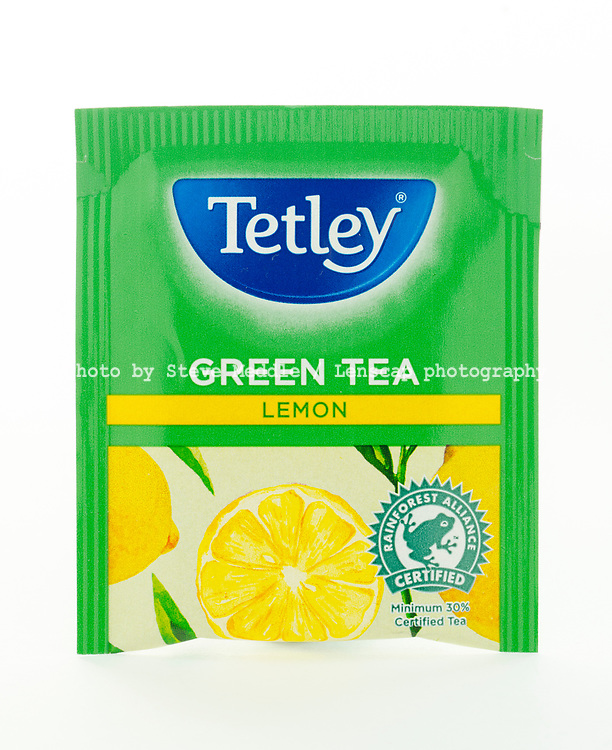 London, England - March 07, 2017: Tetley Green Tea, Tetley was founded by Joseph and Edward Tetley around 1837 in Yorkshire, England.