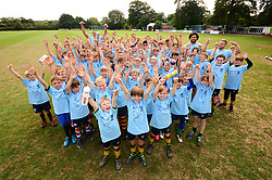 Ian Madigan, Steven Luatua, Chris Vui and Jack Lam visit the Bristol Bears Community Foundation Summer Holiday Camp at Old Bristolians RFC - Mandatory by-line: Dougie Allward/JMP - 15/08/2018 - Rugby